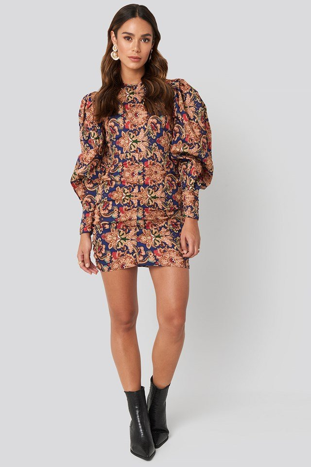 Puff Sleeve Printed Mini Dress Printed