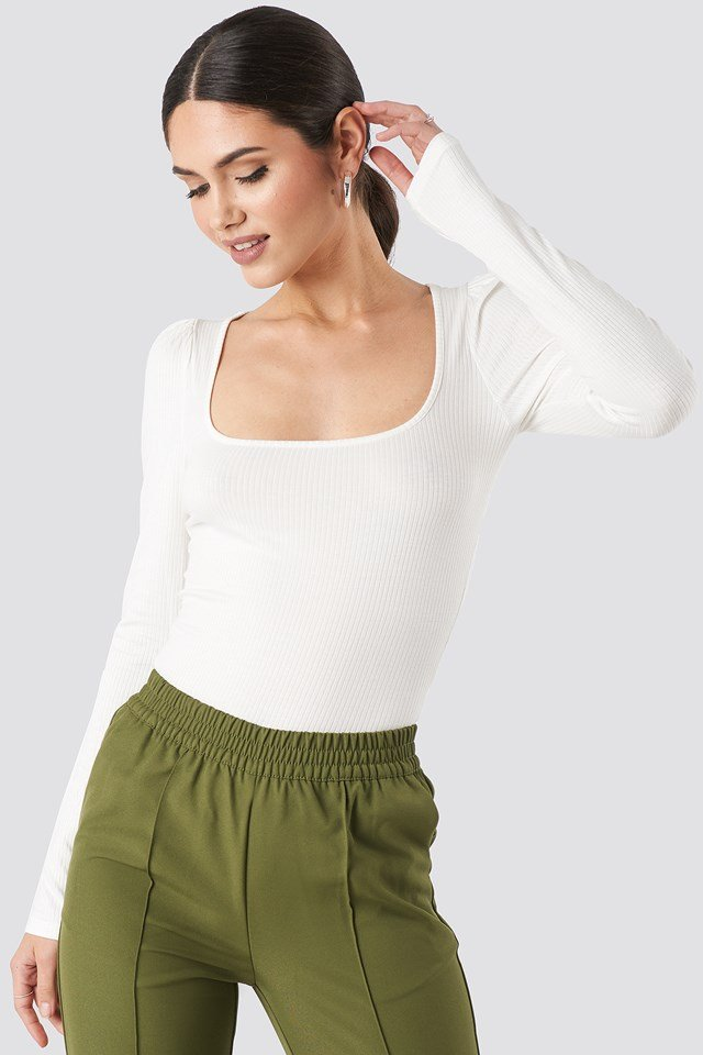 Puff Sleeve Ribbed LS Top Offwhite