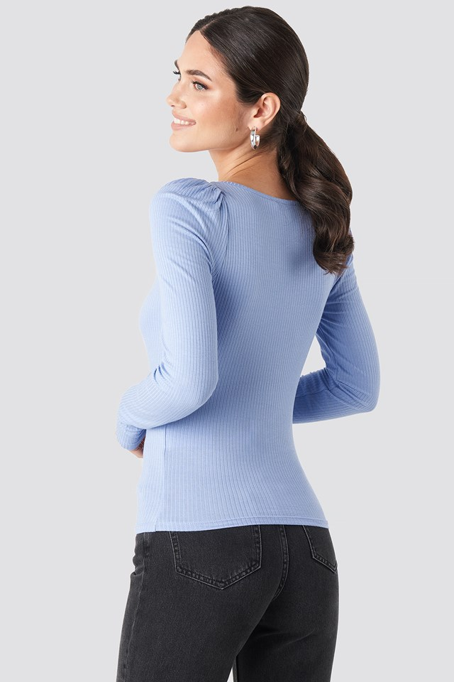 Puff Sleeve Ribbed LS Top Dusty Light blue