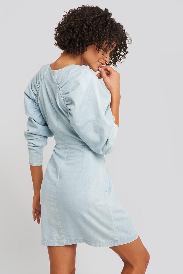 Puff Sleeve Round Neck Mini Dress Light Blue