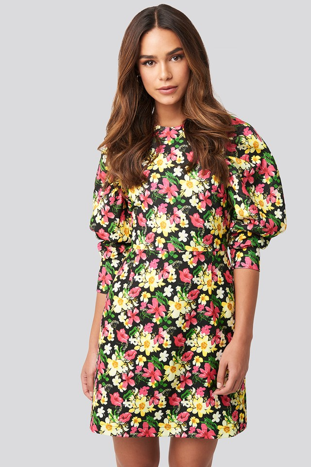 Puff Sleeve Round Neck Mini Dress Floral