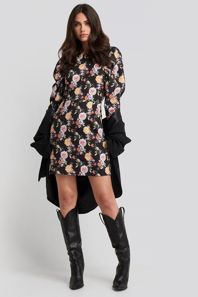 Puff Sleeve Round Neck Mini Dress Floral Print