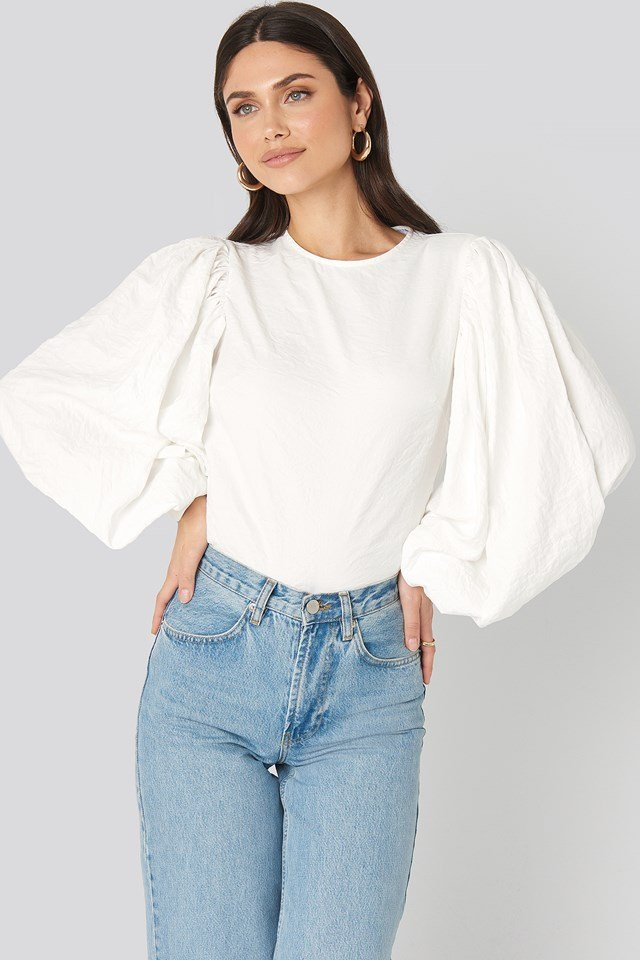 Puff Sleeve Round Neck Top White
