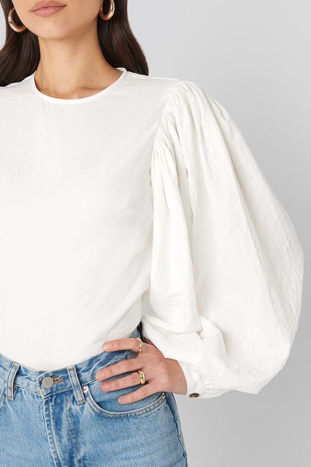 Puff Sleeve Round Neck Top White