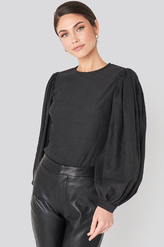 Puff Sleeve Round Neck Top Black