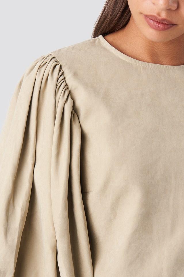 Puff Sleeve Round Neck Top Beige