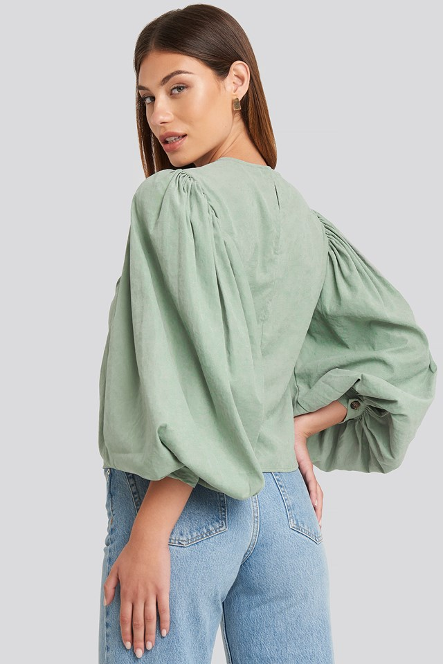 Puff Sleeve Round Neck Top Dusty Green