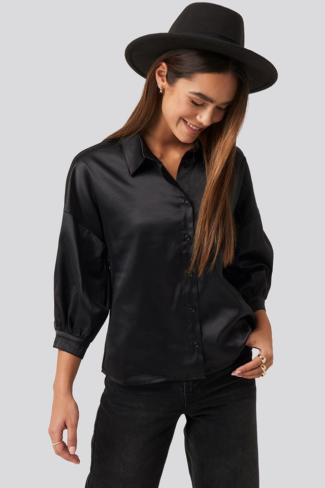 Puff Sleeve Satin Blouse Black