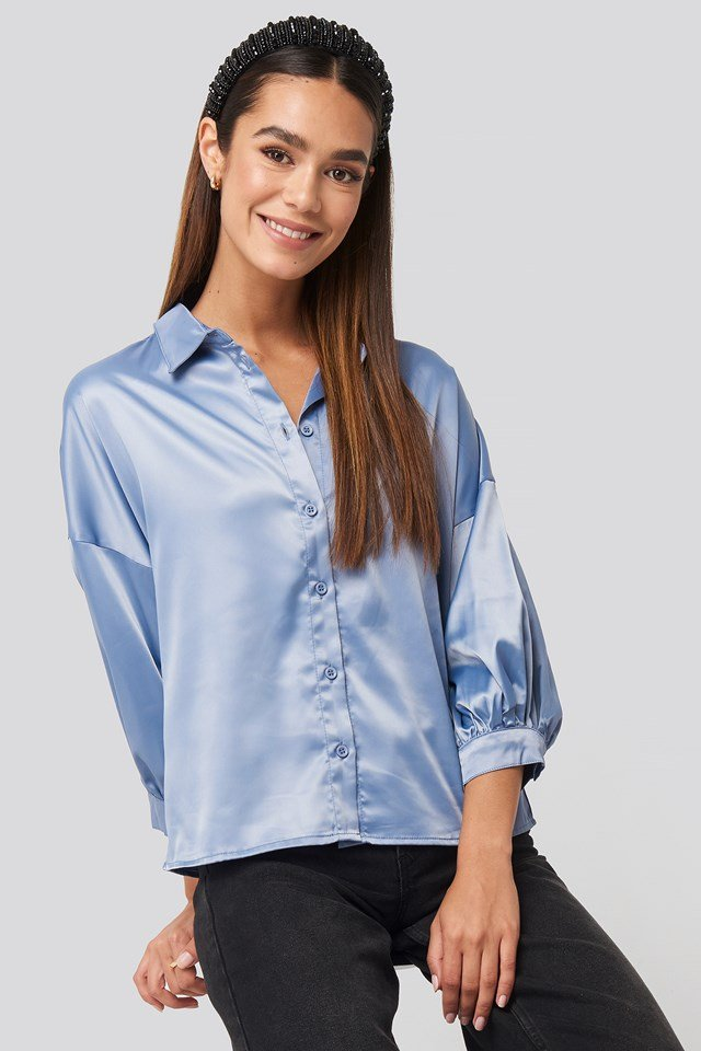 Puff Sleeve Satin Blouse Blue