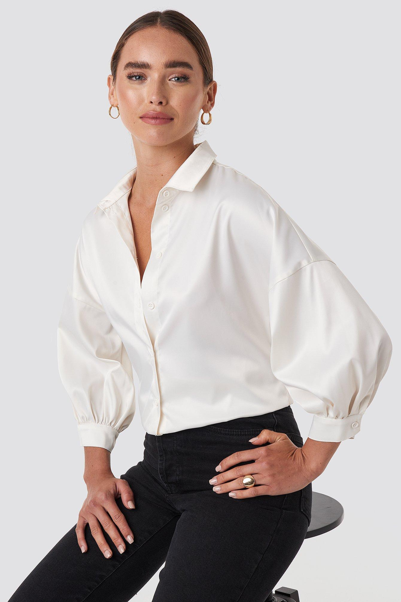 na-kd -  Puff Sleeve Satin Blouse - White