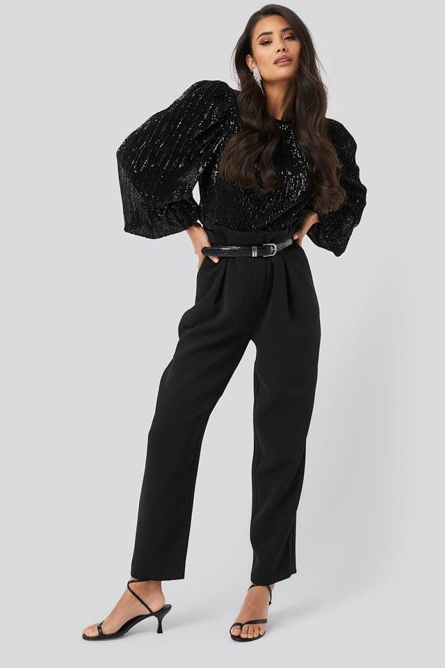 Puff Sleeeve Sequin Blouse Black