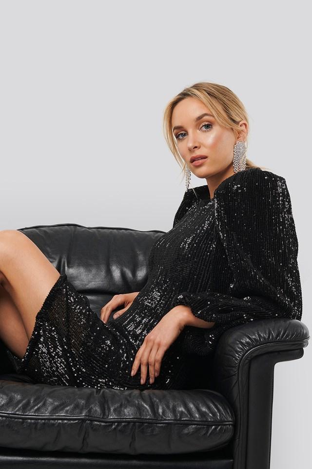 Puff Sleeve Sequin Mini Dress Black