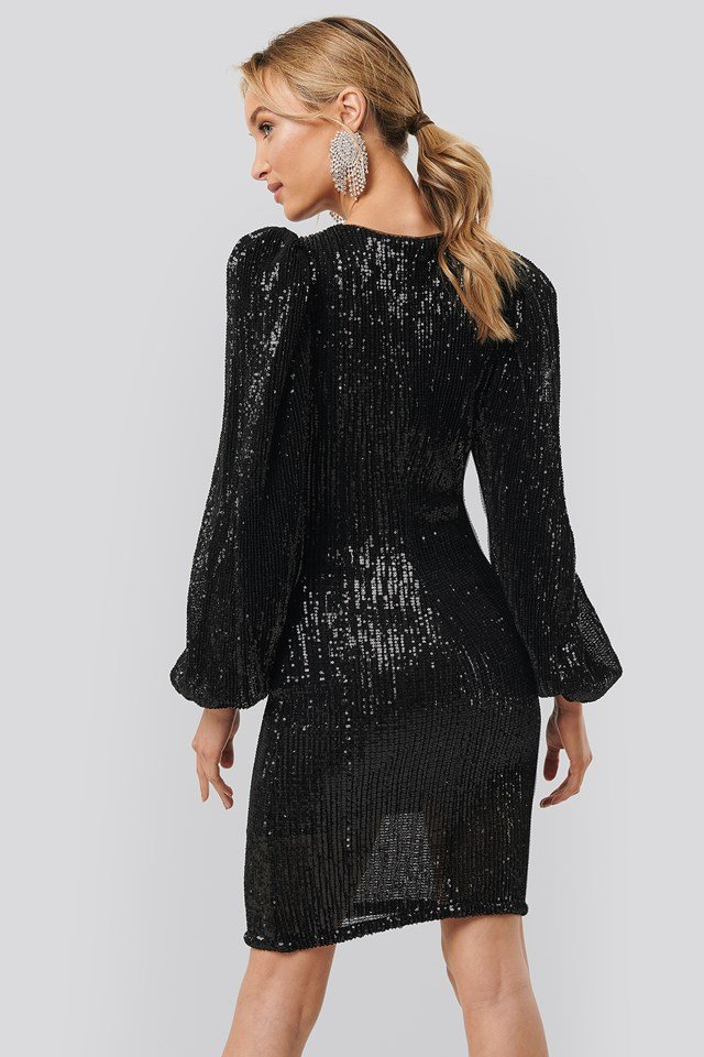 Puff Sleeve Sequin Mini Dress Black