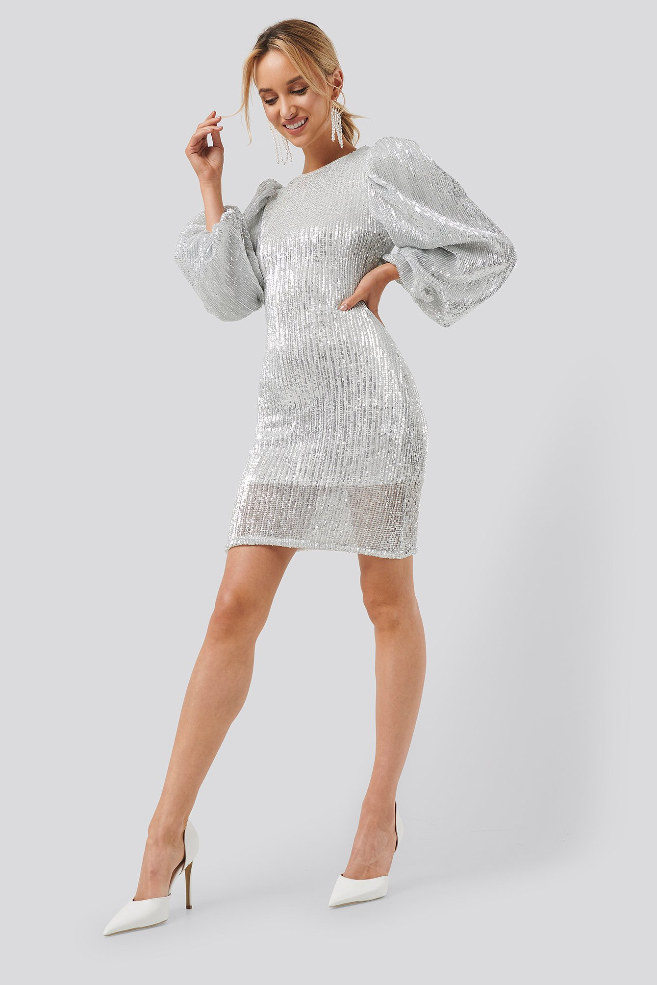 na-kd party -  Puff Sleeve Sequin Mini Dress - Silver
