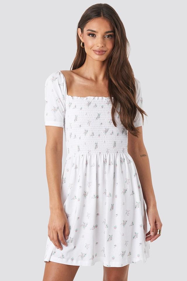 Puff Sleeve Shirring Mini Dress Floral Print