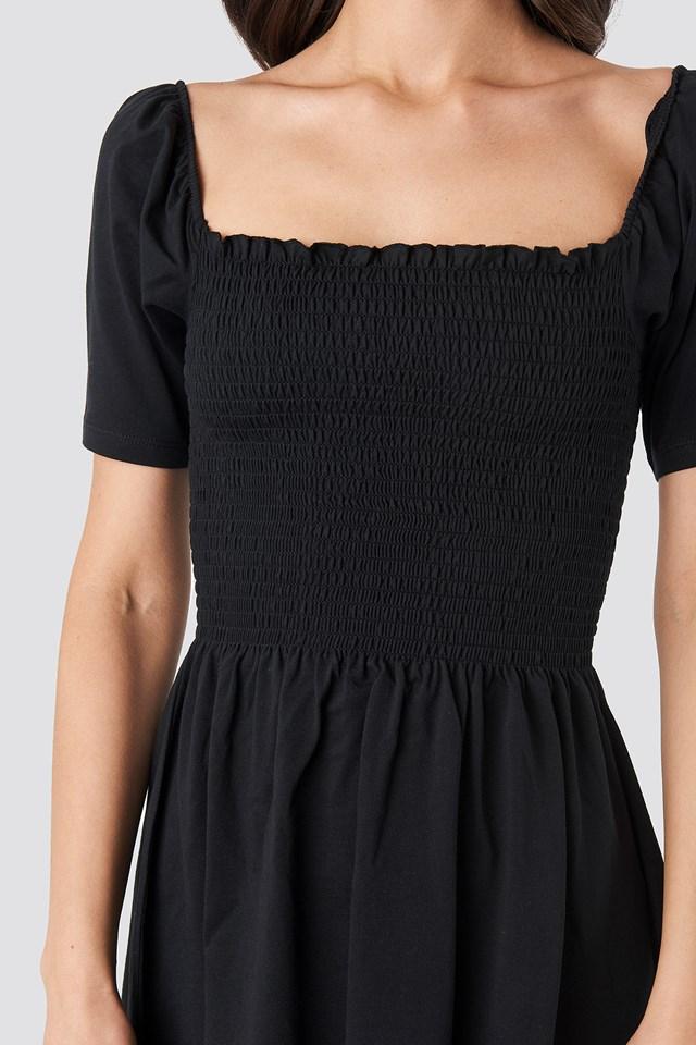 Puff Sleeve Shirring Mini Dress Deep Black