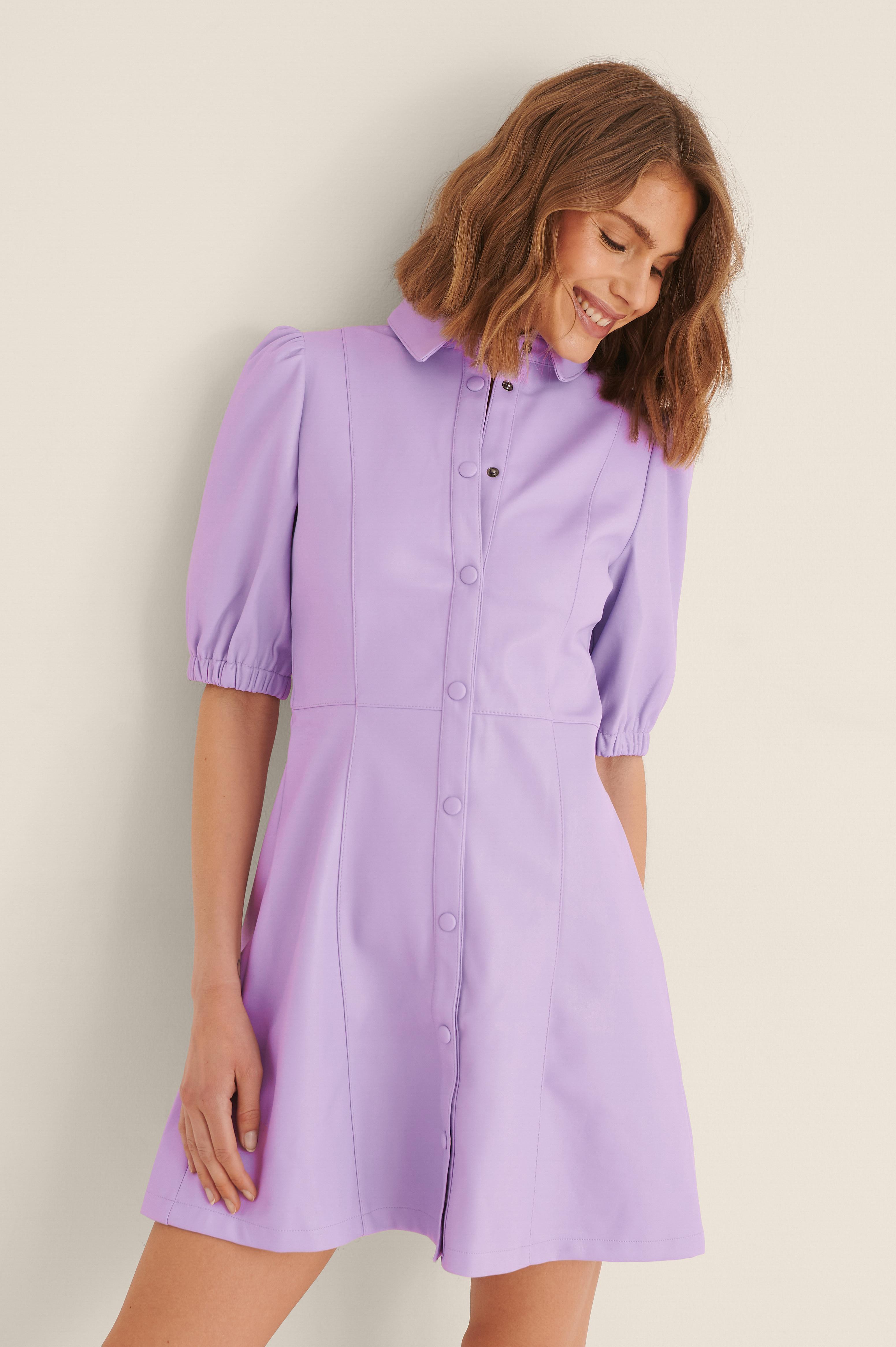 na-kd trend -  Pu-Kleid Mit Puffärmeln - Purple
