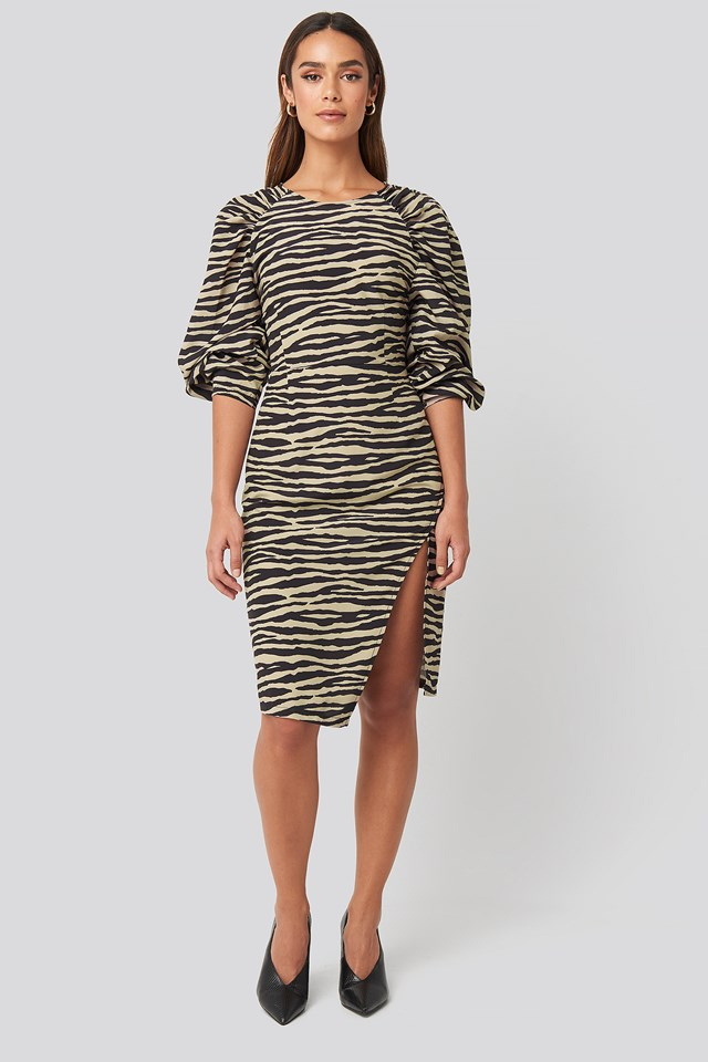 Puff Sleeve Side Split Midi Dress beige/Black
