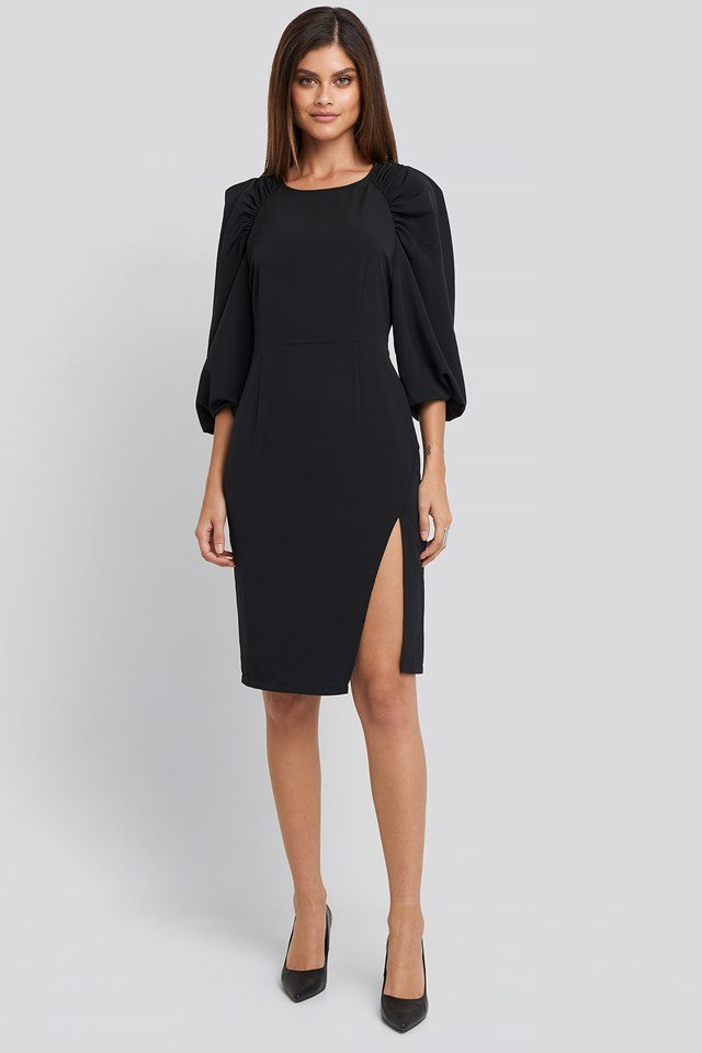 Puff Sleeve Side Split Midi Dress Deep Black
