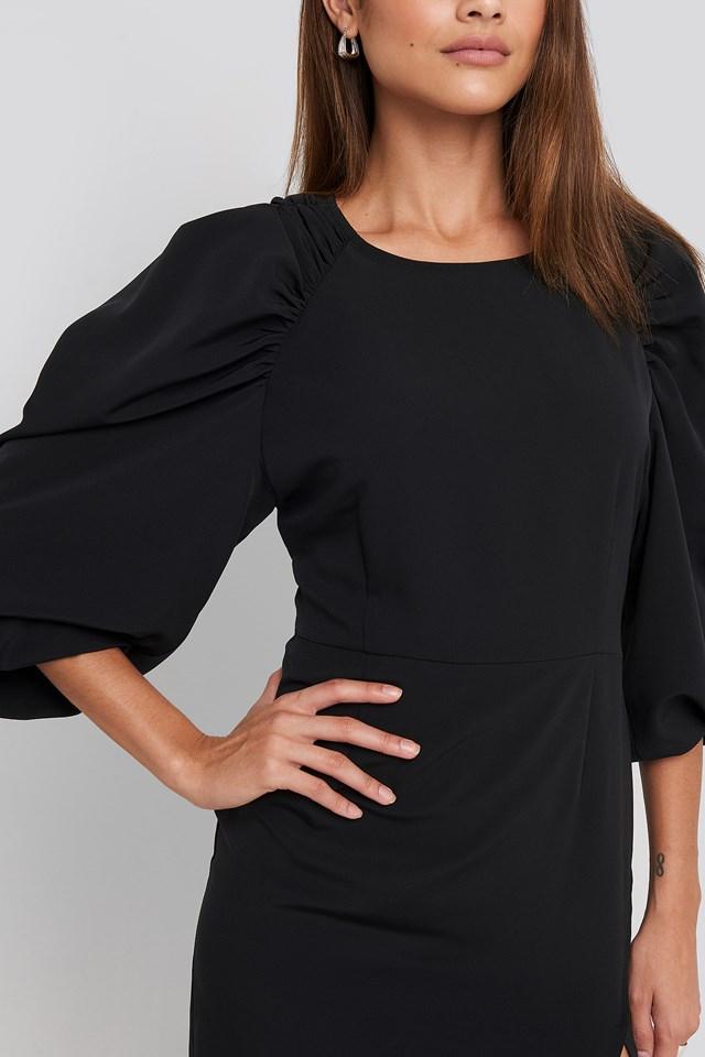 Puff Sleeve Side Split Midi Dress Deep Black