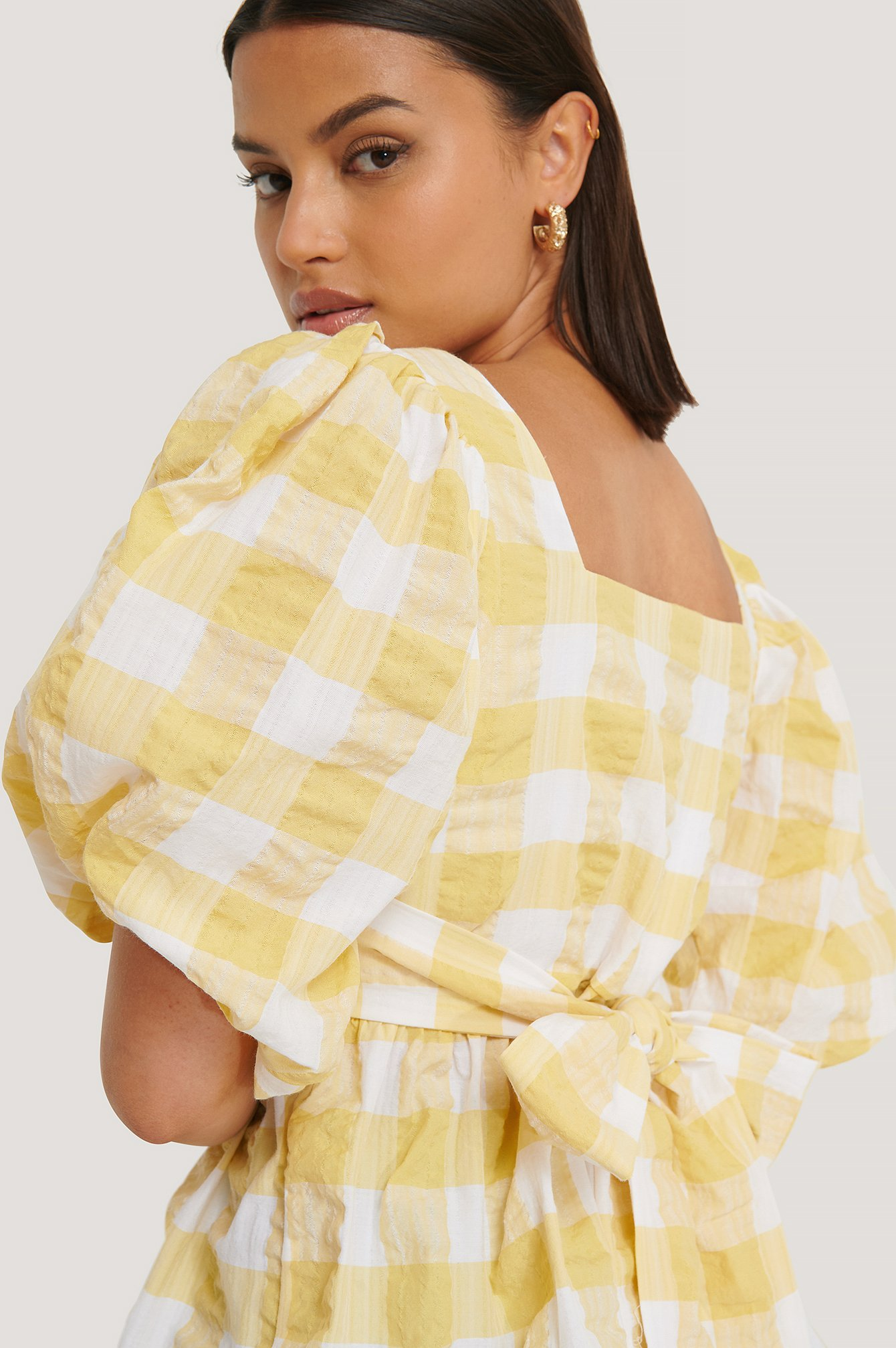 White/Yellow Puff Sleeve Smock Blouse