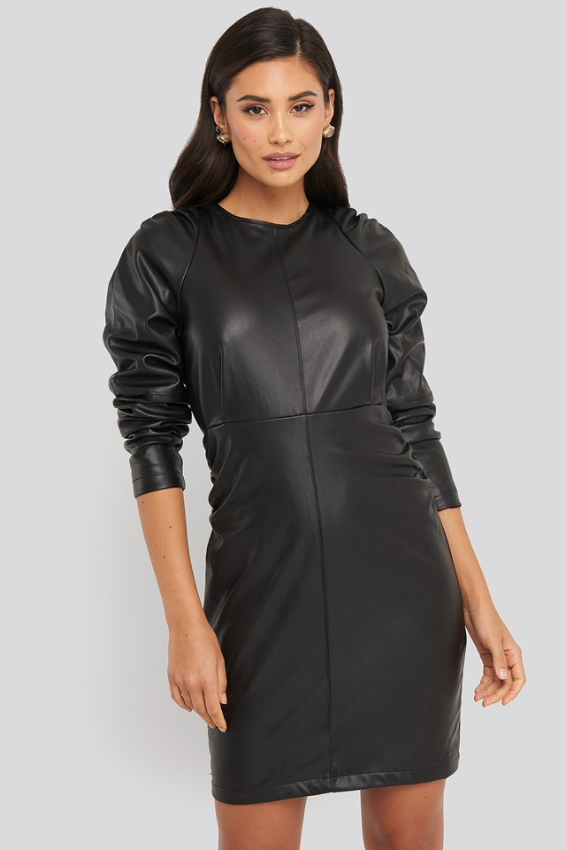 Puff Sleeve Soft Pu Dress Black
