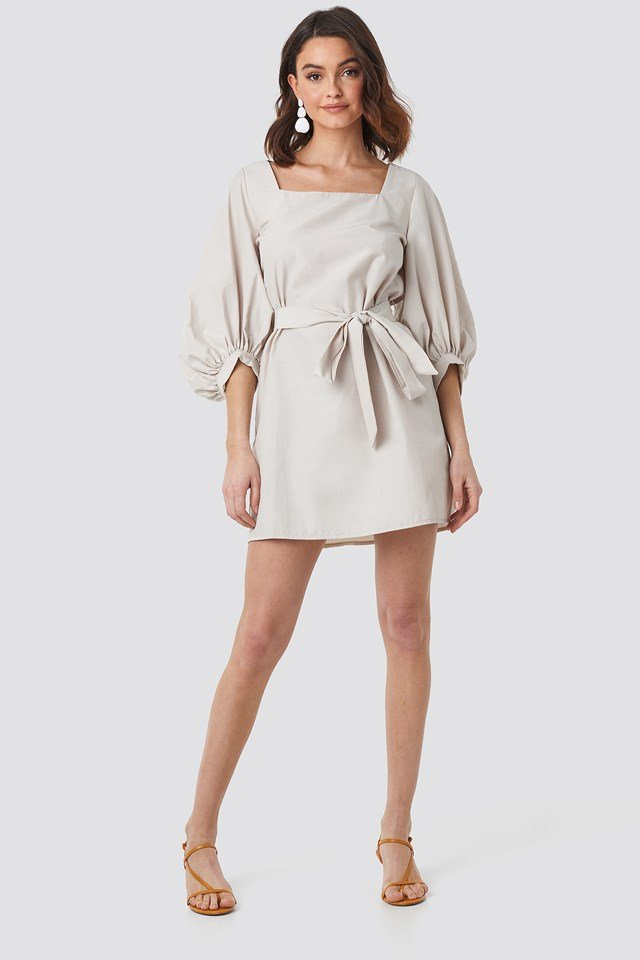 Puff Sleeve Square Neck Tie Dress Beige