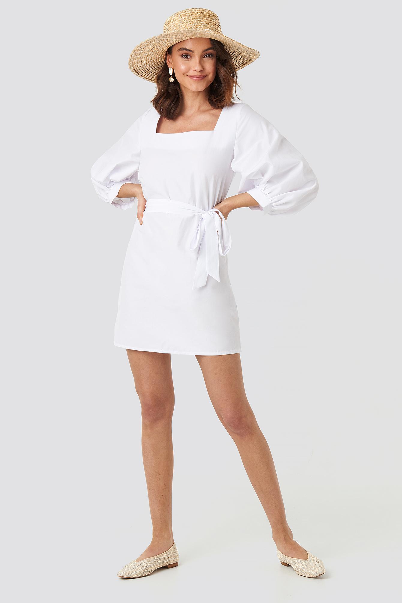 Puff Sleeve Square Neck Tie Dress NA-KD.COM