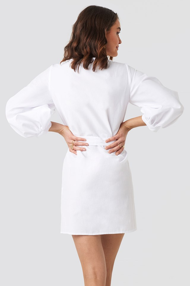 Puff Sleeve Square Neck Tie Dress White