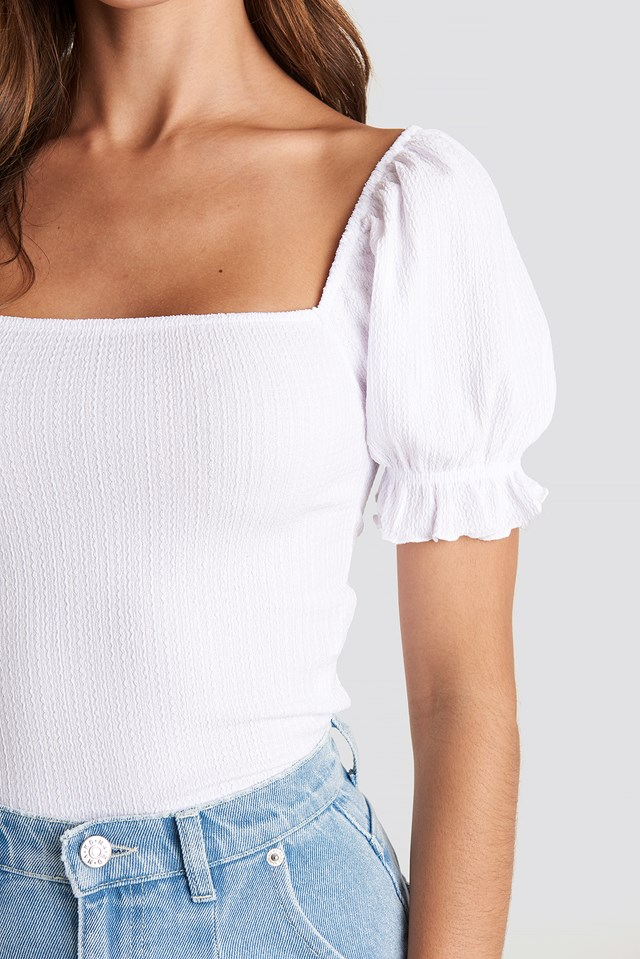 Puff Sleeve Square Neck Top Off White