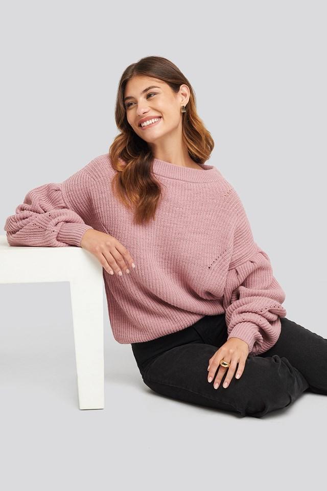 Puff Sleeve Sweater Pink