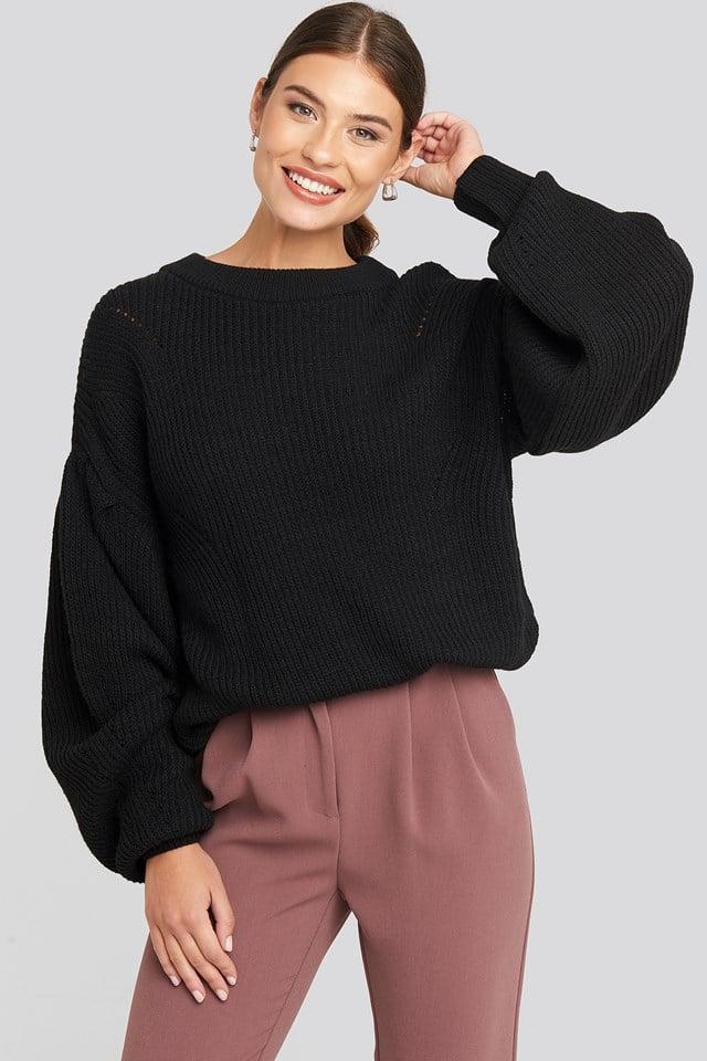 Puff Sleeve Sweater Deep Black