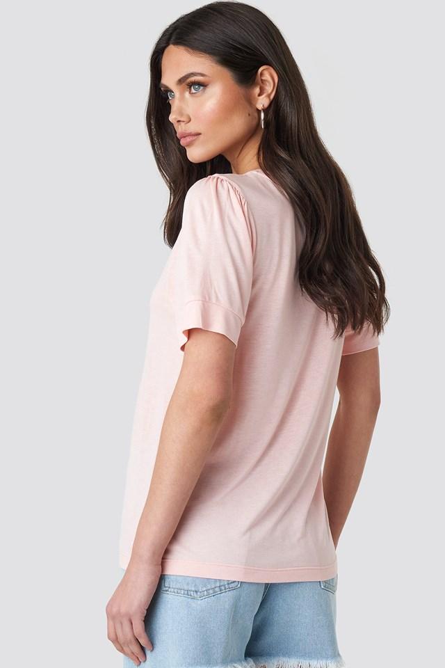 Puff Sleeve T-shirt Pink