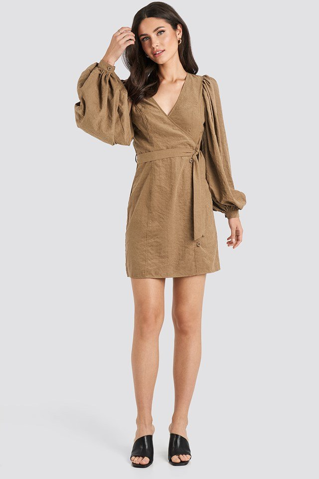 Puff Sleeve Tie Waist Dress Brown