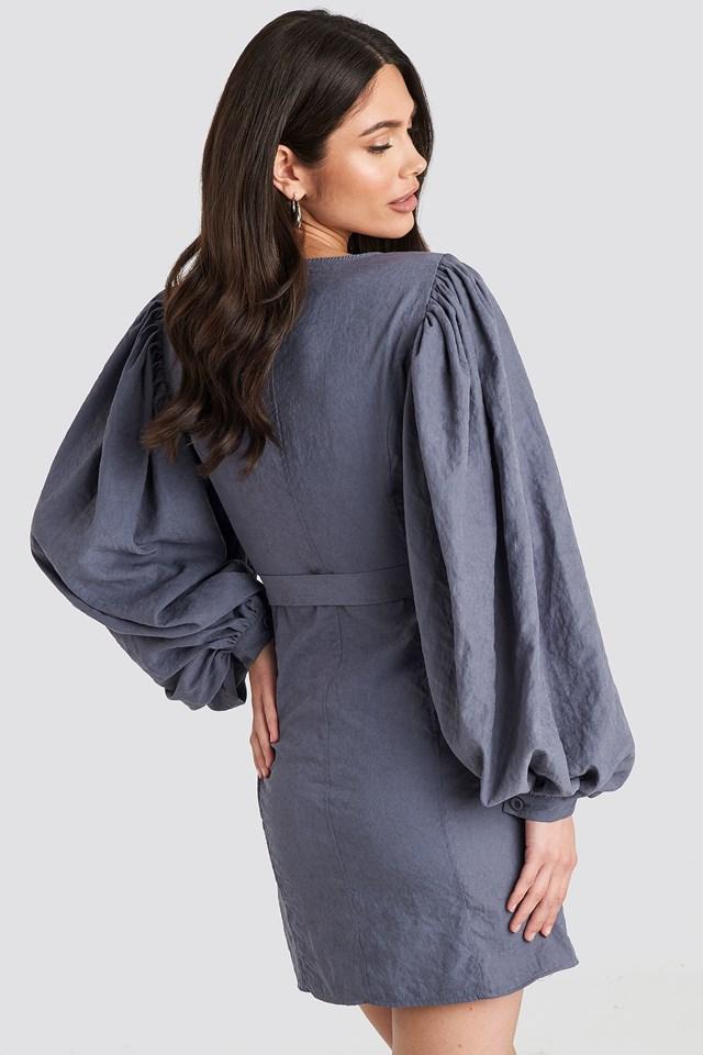 Puff Sleeve Tie Waist Dress Dusty Dark Blue
