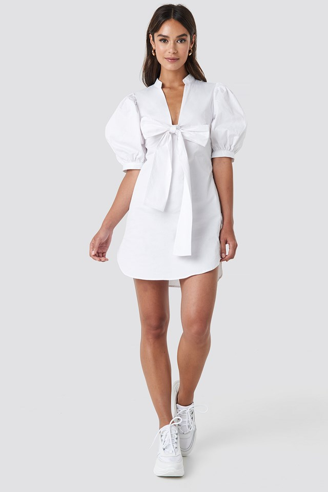 Puff Sleeve Tied Front Short Dress White