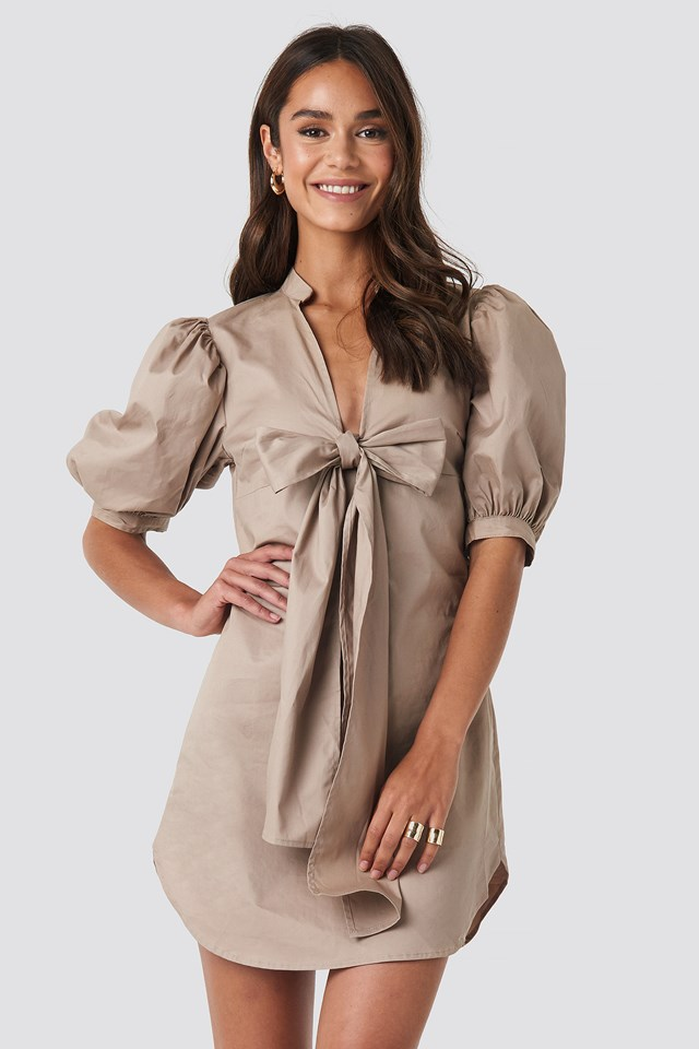 Puff Sleeve Tied Front Short Dress NA-KD Trend