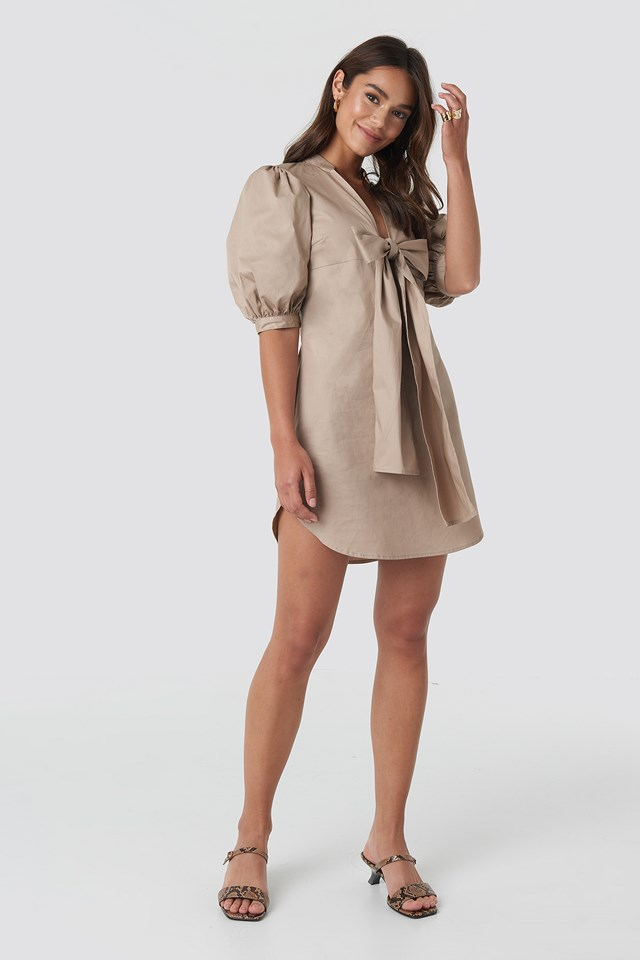 Puff Sleeve Tied Front Short Dress NA-KD.COM
