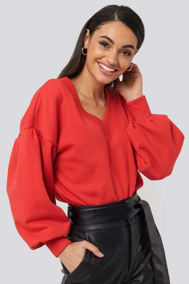 Puff Sleeve V-neck Sweatshirt Red