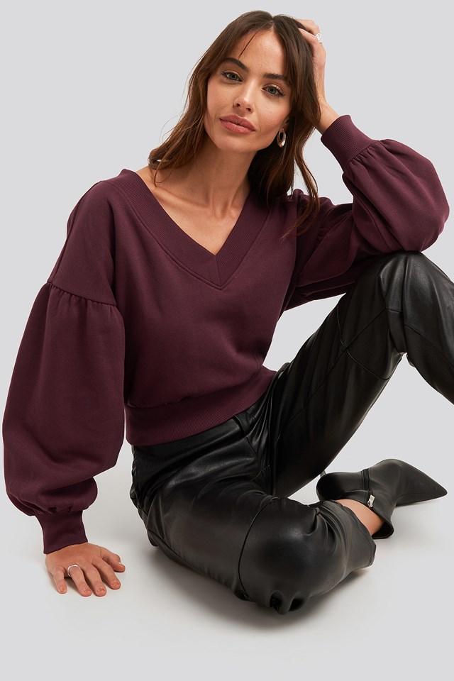 Puff Sleeve V-neck Sweatshirt NA-KD