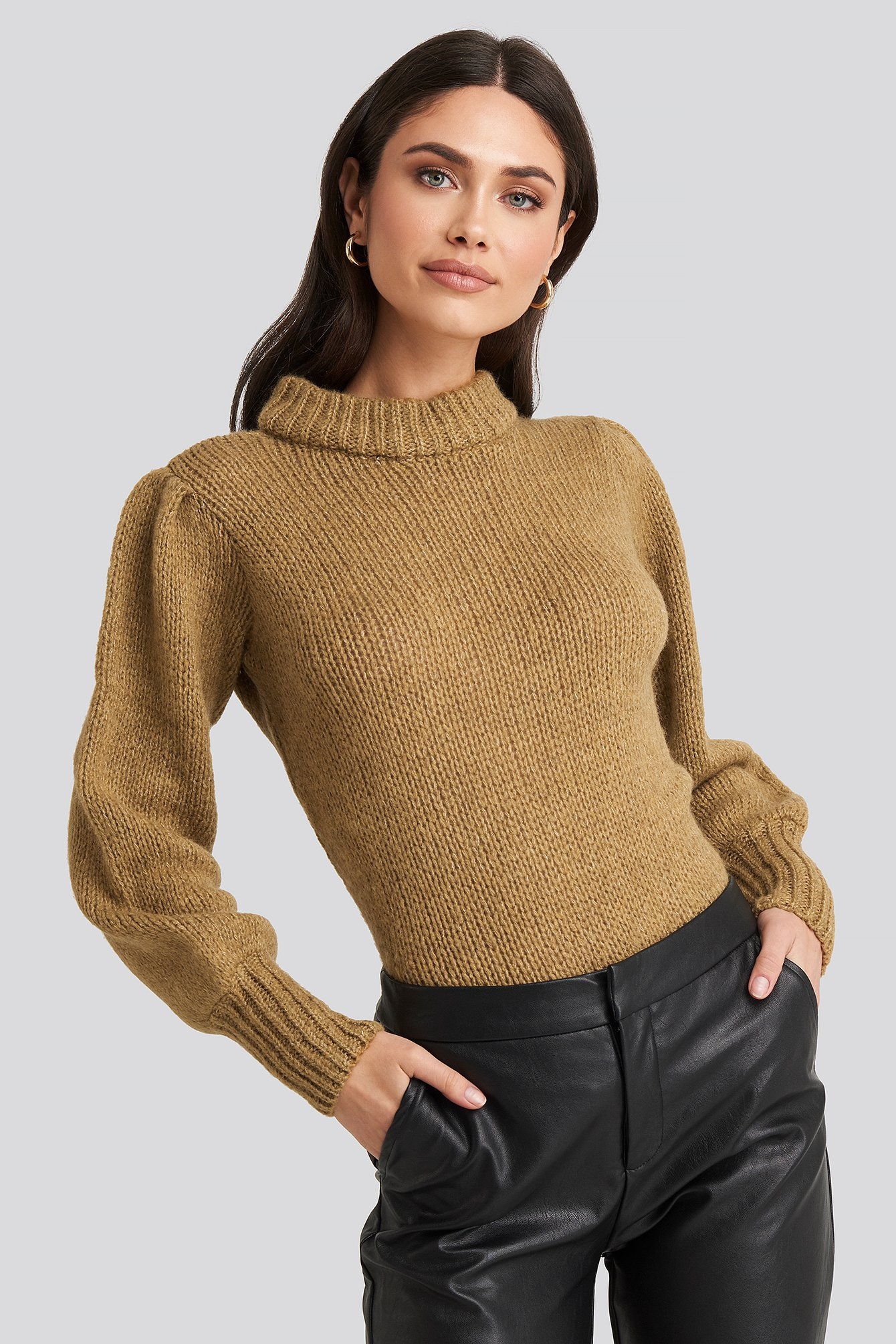 NA-KD Puff Sleeve Wide Neck Knitted Sweater - Beige | Bekleidung > Sweatshirts & -jacken > Sweatshirts | NA-KD