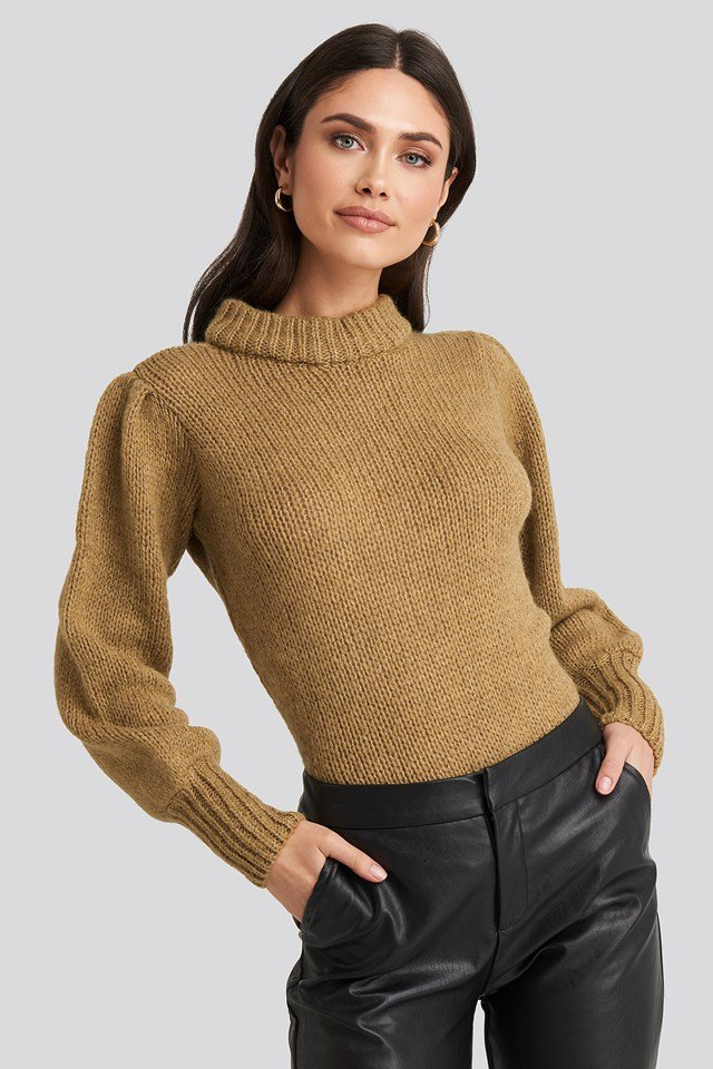 Puff Sleeve Wide Neck Knitted Sweater Beige