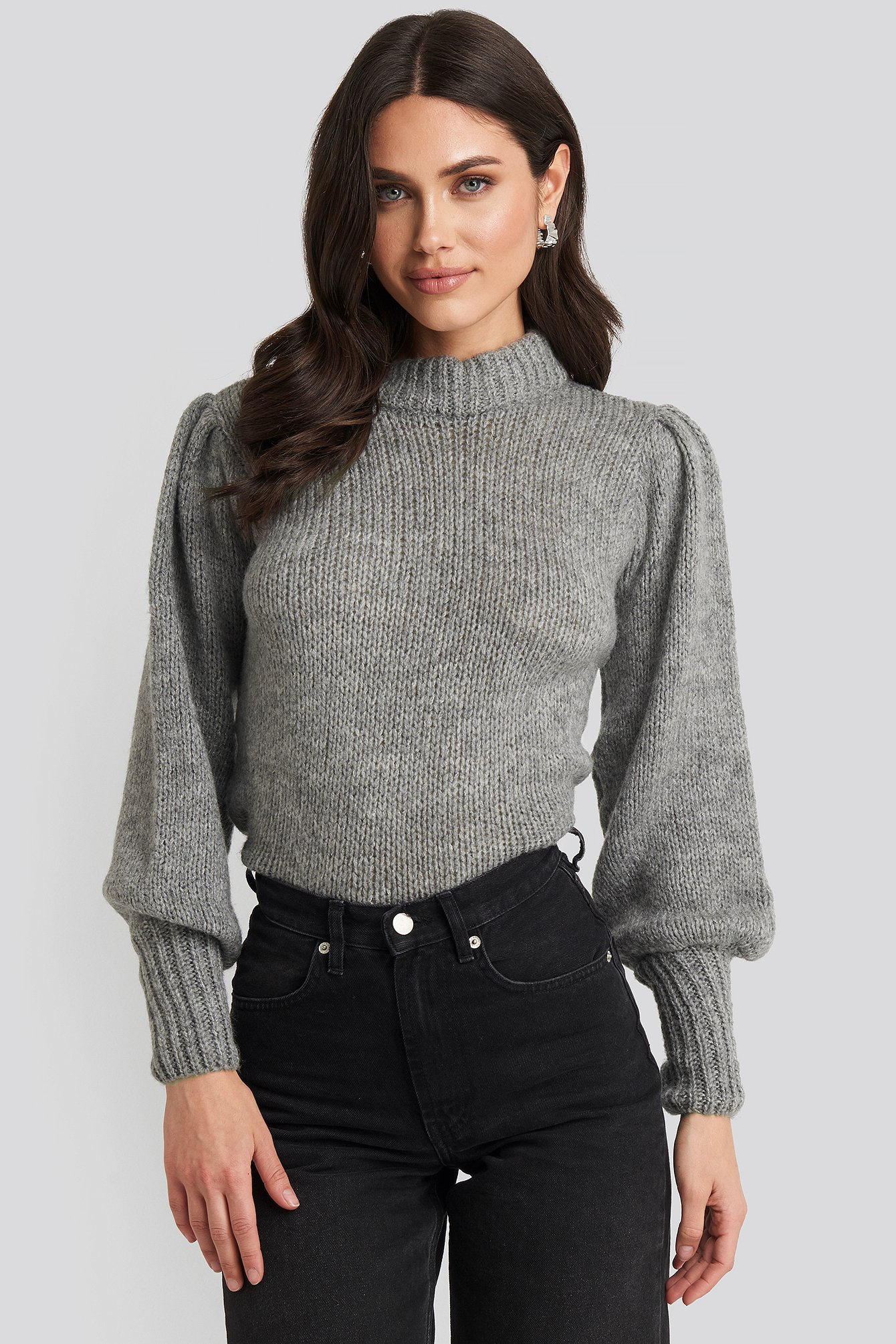 NA-KD Puff Sleeve Wide Neck Knitted Sweater - Grey