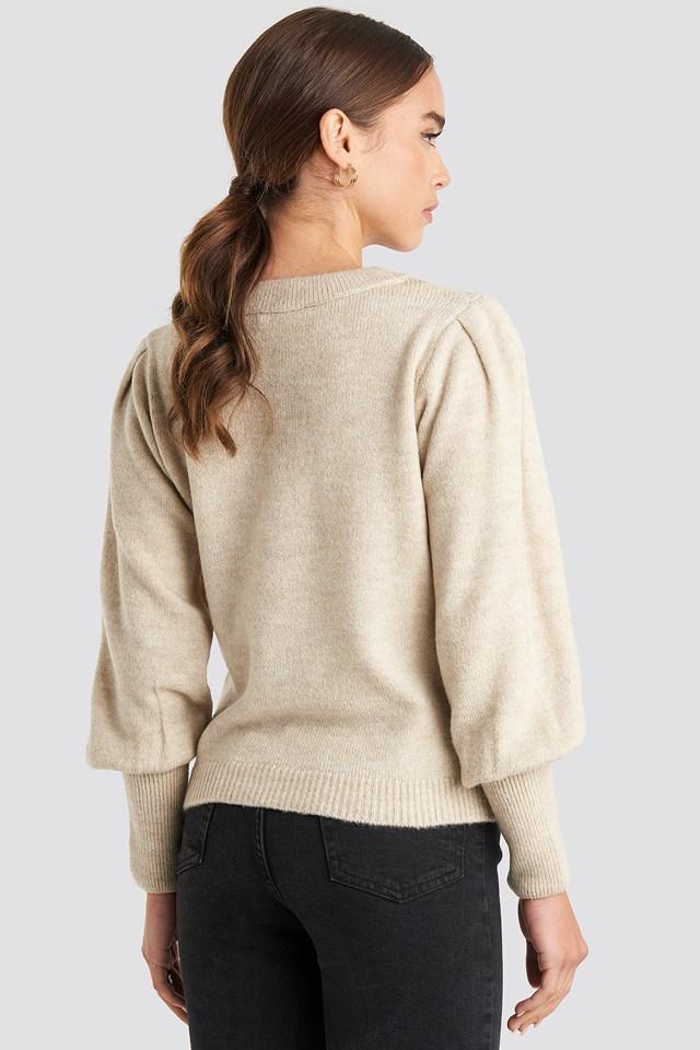 Puff Sleeve Wide Rib Knitted Sweater Beige