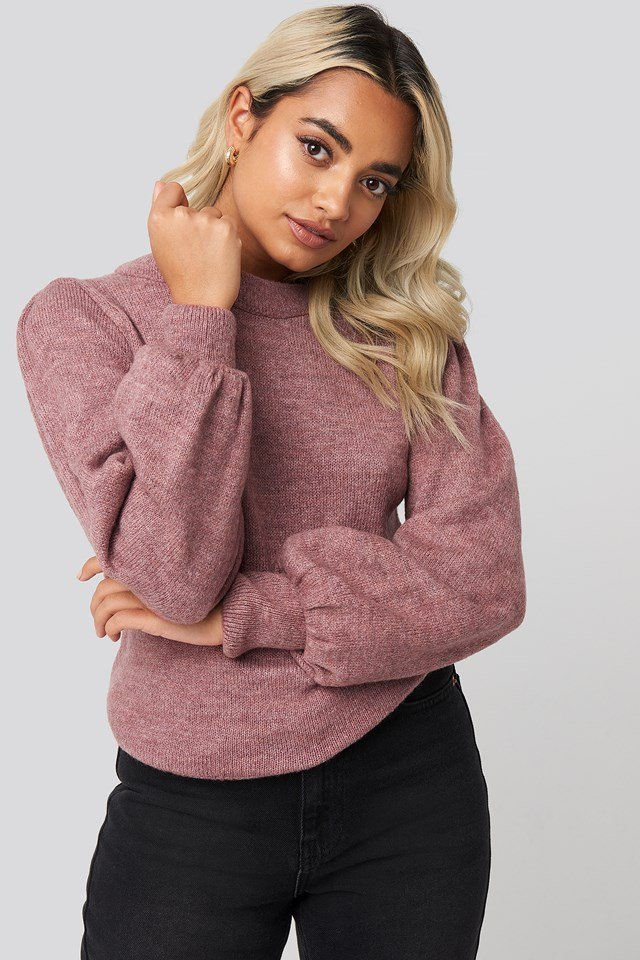 Puff Sleeve Wide Rib Knitted Sweater Dusty Pink