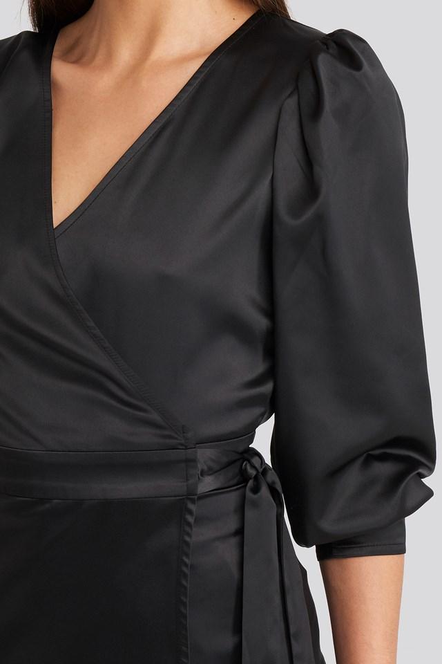 Puff Sleeve Wrap Blouse Deep Black