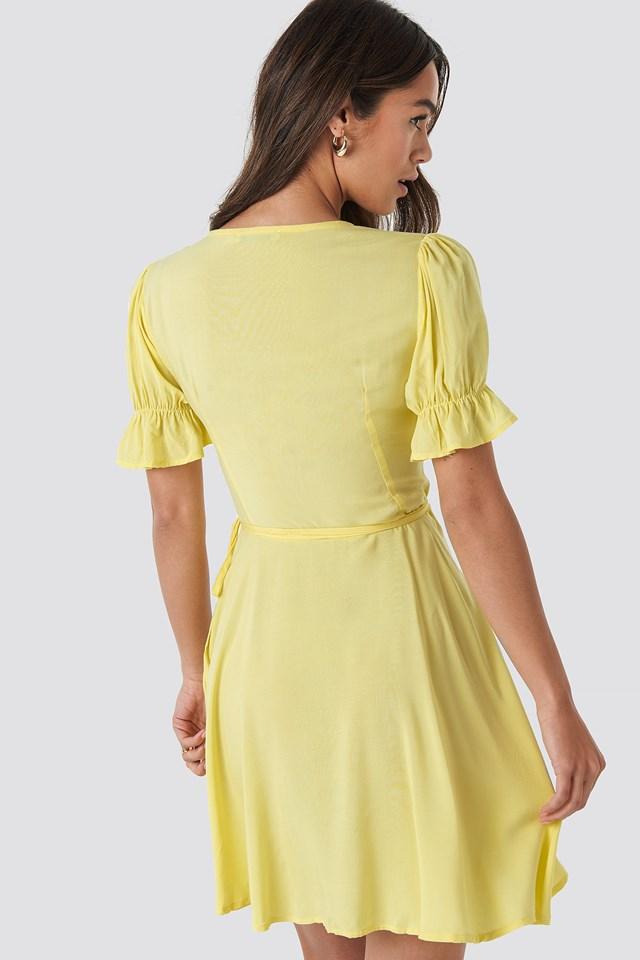 Puff Sleeve Wrap Dress Yellow