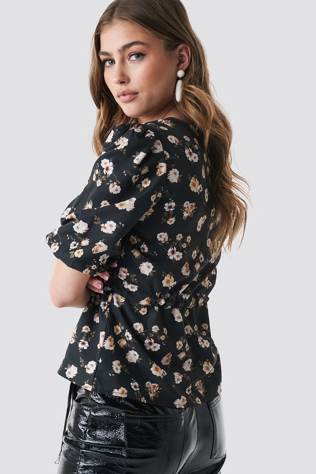 Puff Sleeve Wrap Front Top Black/Oil Flower