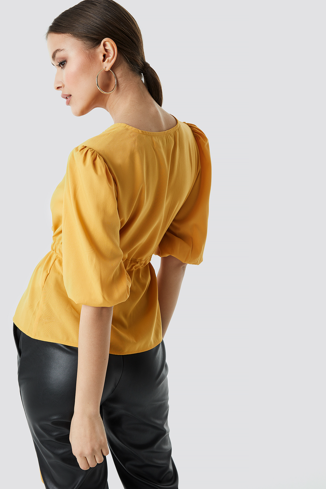 Puff Sleeve Wrap Front Top NA-KD.COM