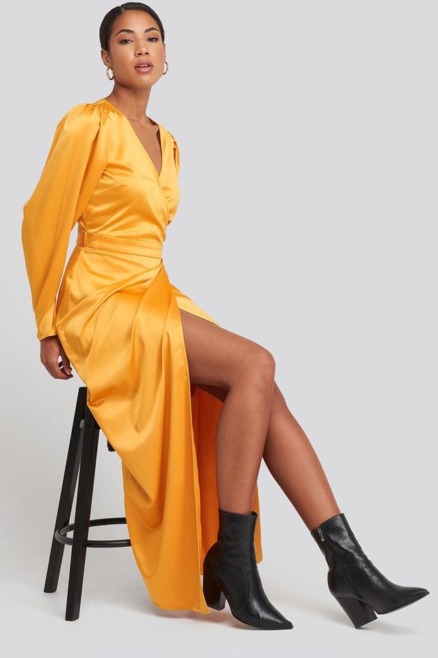 Puff Sleeve Wrap Maxi Dress Mustard